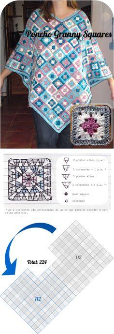 Poncho granny square 'Flores Campestres'. Esquema crochet