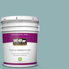 BEHR Premium Plus 5-gal. #500F-5 Gulf Winds Zero VOC Eggshell Enamel Interior Paint