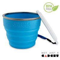 Collapsible Travel Cup - 100% Food-grade Silicone Mug for Camping and Hiking, Blue - by Not Just A Gadget