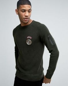 Jack & Jones Ribber Jumper With Military Patches