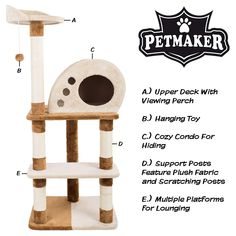 4 Tier Cat Tree- Plush Multi-Level Cat Tower with Sisal Scratching Posts, Perch, Cat Condo and Hanging Toy for Cats and Kittens By PETMAKER ** Check out this great product. (This is an affiliate link) Cat Care Tips, Dog Care, Pet Tips, Cat Activity, Pumpkin Dog Treats, Cat Towers, Cat Scratching Post, Cat Condo, Cat Tree