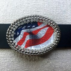 American Proud Flag Bling Belt Buckle by What The Buckle on Etsy.com