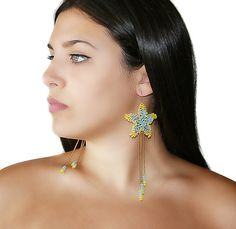 Seed bead sea star earrings, starfish summer earrings, beadwork wire #crochet jewelry:  Summer inspired sea star earrings.  Make a statement with these earrings. Lovely, eas... #handmade #jewelry #boho #etsy #epiconetsy #shopping #shopsmall #jewelryonetsy #etsyseller