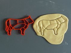 Beef cuts cookie cutter, cuts like the butcher does, 3D printed by Printmeneer