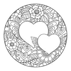 Premium Vector | Mehndi flower pattern in form of heart with lotus for henna drawing and tattoo. Heart Coloring Pages, Pattern Coloring Pages, Mandala Coloring Pages, Coloring Pages To Print, Colouring Pages, Adult Coloring Pages, Coloring Books, Mehndi Flower, Heart Template
