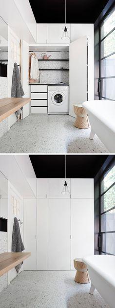 hidden laundry in bathroom Room Design, Interior Design, Laundry In Bathroom, Home, Interior Design Living Room, Interior, Laundry Bathroom Combo, Hidden Laundry, Living Room Designs