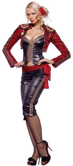 FANCY DRESS MISS MATADOR COSTUME / BULLFIGHTER OUTFIT / BULLFIGHTING UNIFORM - SEXY 3 PC ADULT LADIES MATADORS COSTUMES , BULL FIGHTER / FIGHTING OUTFITS & BULLFIGHTERS UNIFORMS