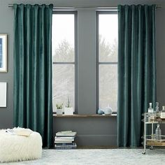 West Elm Luster Velvet Curtain - the Blue Stone is such a pretty color in person...it's more like a dusty teal color in a rich velvet fabric, perfect for a bedroom!