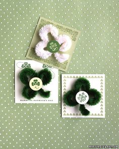 St. Patrick's Day Pins: Irish eyes -- and everyone else's -- will be smiling at the sight of these fuzzy holiday favors.