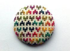 Brooch Multicolor Hearts Love  Cross Stitch  Unique  by COSIMITAS