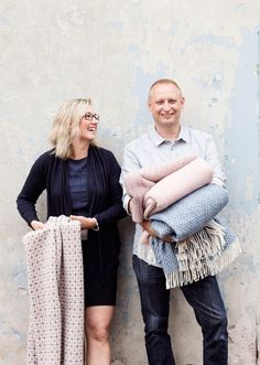 Jaana and Esko Hjelt, fourth generation weavers and owners of Lapuan Kankurit Prefab Homes, Weaving Techniques, Midcentury Modern, Sequin Skirt, Textiles, Stylish, Fabric, Nice Things, Inspiration