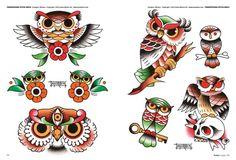 Tattoo flash book №4 - 150 owl   37 photos   VK Flash Art Tattoos, Body Art Tattoos, Hand Tattoos, Sleeve Tattoos, Traditional Tattoo Flash Sheets, Traditional Owl Tattoos, Traditional Tattoo Design, Tattoo Espalda, Old School Tattoo Designs