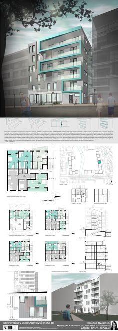 Studentský projekt. LS 2013/2014. FSv ČVUT v Praze. Architecture Portfolio Examples, Architecture Panel, Architecture Graphics, Archi Design, Apartment Floor Plans, Student House, Residential Complex, Apartment Complexes, Social Housing