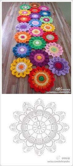 Crochet table runner diagram charts doily patterns 29 ideas for 2019 Crochet Mandala Pattern, Crochet Motifs, Crochet Flower Patterns, Crochet Diagram, Doily Patterns, Crochet Chart, Crochet Squares, Crochet Doilies, Crochet Flowers
