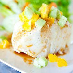 PrintMango Glazed Chilean Sea Bass with Dill Cucumber