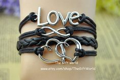 Antique Silver Infinity Double love charm bracelet by TheGiftWorld, $3.99 Simple fashion personality woven leather bracelet,the best gift of friendship.