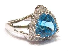 925 STERLING SILVER BLUE TOPAZ CONCAVE CUT & CZ RING SIZE 7  JEWELRY