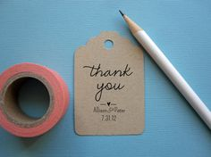 Wedding thank you tag stamp, customizable with names and date, wedding favor stamp, self Inking or wood handle auf Etsy, 23,61 €
