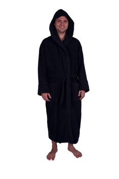 b80543df6d Heavy Adult Unisex Hoodie Bathrobe 100% Natural Soft Cotton