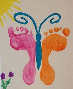 Butterfly feet art, The Effective Pictures We Offer You About Spring Crafts For Kids rainbow A quality picture can tell you. Daycare Crafts, Easter Crafts For Kids, Baby Crafts, Preschool Crafts, Spring Toddler Crafts, Summer Crafts, Butterfly Crafts, Butterfly Art, Butterflies
