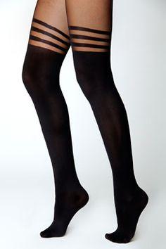 3cce868c557cd Lara Band Mock Suspender Suspender Tights, Fishnet Tights, Black Nylons, Black  Socks,