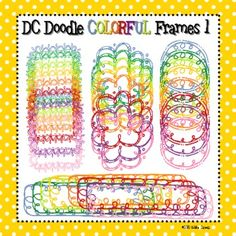 This zip file contains 4 different doodle frame patterns. Each doodle comes in 8 different colors: Blue, Green, Yellow-Green, Yellow, Orange, Red, ...