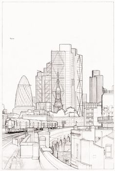 Pencil outline for new cityscape artwork - the view south from Hoxton station, London E2 (pencil on Bristol Board)  © Mike Hall