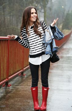 Dress Corilynn: black and white striped sweater with shirttails peeking out, black denim jeans, light denim jacket, red Hunters!