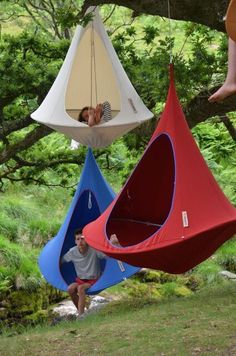 The single sized hanging tent comes in 11 different colors. These popular cool looking hammocks can be used indoors as well as out.
