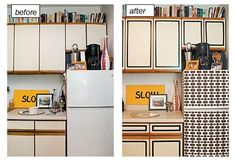 The Peel-and-Stick Makeover: Wallpapered Fridge  http://www.apartmenttherapy.com/the-peelandstick-makeover-wallpapered-fridge-aunt-peaches-189392
