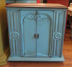 Antique radio cabinet. Turquoise :)