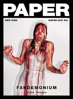 Scream queen:Chloe Sevigny, 41, channelsStephen King's character Carrie on the cover of Paper magazine's new issue