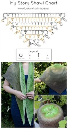 Diagrama Chal Triangular My Story Shawl Crochet Shawl Pattern, The My Story Shawl is a simple pattern that encourages you to tell your own story throCrochet this easy beginner friendly wrap shawl scarf with my free pattern and simple stitch chart! Crochet Shawl Diagram, Crochet Shawl Free, Crochet Shawls And Wraps, Crochet Scarves, Crochet Clothes, Crochet Chart, Knit Crochet, Crochet Patterns, Crochet Sweaters