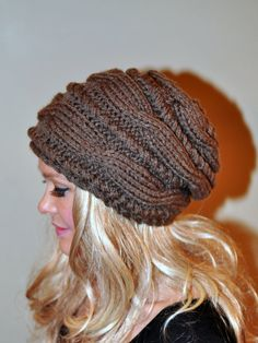 Slouchy Beanie Slouch Hat Cabled Braided Hand Knit by lucymir, $69.99