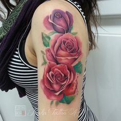 Watercolour roses. Jemka - Sydney NSW. skinink.com.au Watercolor Rose, Watercolor Tattoo, Rose Tattoos, Tatoos, Cool Tats, Rose Bouquet, I Tattoo, Tattoo Artists, Tatting