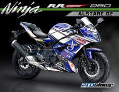 Cutting Stiker Printing Ninja 250 RR Mono Putih Motif Grafis Moto2 Ducati ALSTARE Replica 02