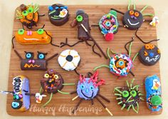 Decorate Twinkies and Ding Dongs as bugs and other creatures for a class Halloween Party.