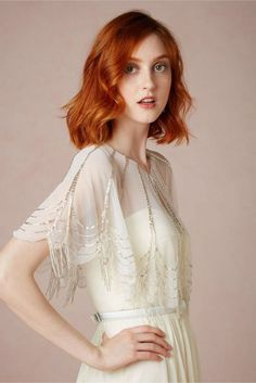 Get The Look At Any Budget: Wedding Dress Capelets & Coverups: BHLDN Trickling Capelet with Embellished Beading