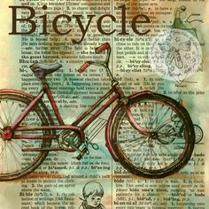 """""""Bicycle""""   5"""" x 5"""" Mixed Media Drawing on Distressed, Dictionary Page   My studio is really productive and I'm moving from one piece..."""