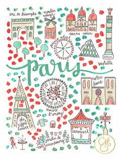 Paris Map Print by EvelynHenson on Etsy
