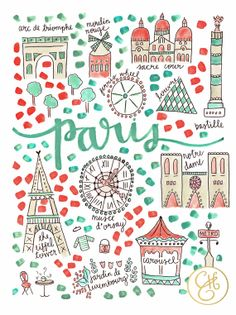 Paris Map Print by EvelynHenson on Etsy