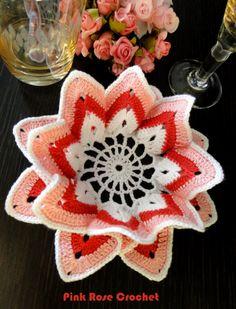 \ PINK ROSE CROCHET /: Centrinho Coaster Bicos de Crochê em Rosa e Vermelho