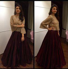 Rate her look 👉 🔟. Parineeti Chopra in Manisha Malhotra for Bachchan's Diwali Bash tonight 💕 😍. Indian Gowns Dresses, Indian Fashion Dresses, Indian Designer Outfits, Pakistani Dresses, Indian Outfits, Designer Dresses, Fashion Outfits, Fashion Clothes, Fashion Purses
