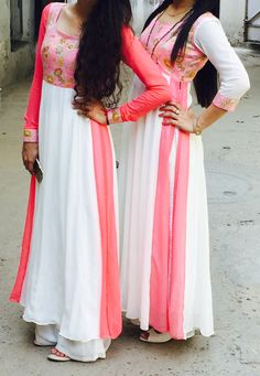 White n pink dresses