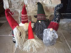Home made christmas Nisse made of recycled sweaters and wool felt. Traditionally brought good luck at Christmas.