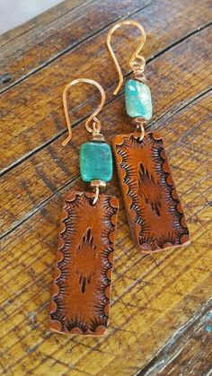 Handcrafted Leather Earrings – Turquoise – Copper – Western Jewelry – Cowgirl Jewelry – Heart of Cowgirl Leather Earrings - jewelry diy