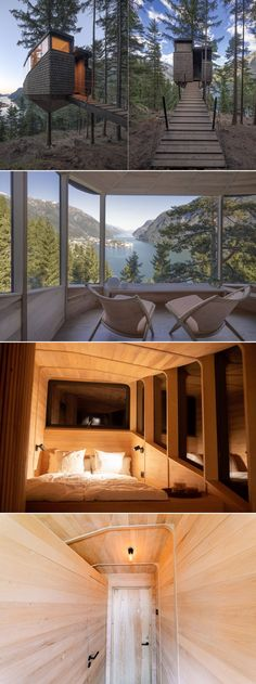 Located on a steep forested hillside of Odda in Norway, Woodnest is a captivating treehouse rental overlooking the magnificent Hardanger fjord. Built by Norwegian architects Helen & Hard, it is a forest dwelling suspended 5-6m above the forest floor on a single pine tree and fastened to the trunk using a steel collar.
