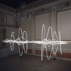 """The LED light installation by #MaYansong at the """"Humanistic Nature and Society-An Insight into the Future"""" exhibition by the Shanghai Himalayas Museum is definitely one of my favorites! (On the 2d floor of palazzo Ca' Faccanon, S.Marco 5016)"""