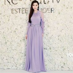 >> Click to Buy << Fan Bingbing 2017 Runway Maxi Dress Women's Long Sleeve Sweet Solid Color Light Purple Celebrity Maxi Long Dress ruffle split XL #Affiliate