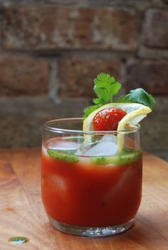 Fresh-juiced bloody mary with cilantro oil = brunch splendidness